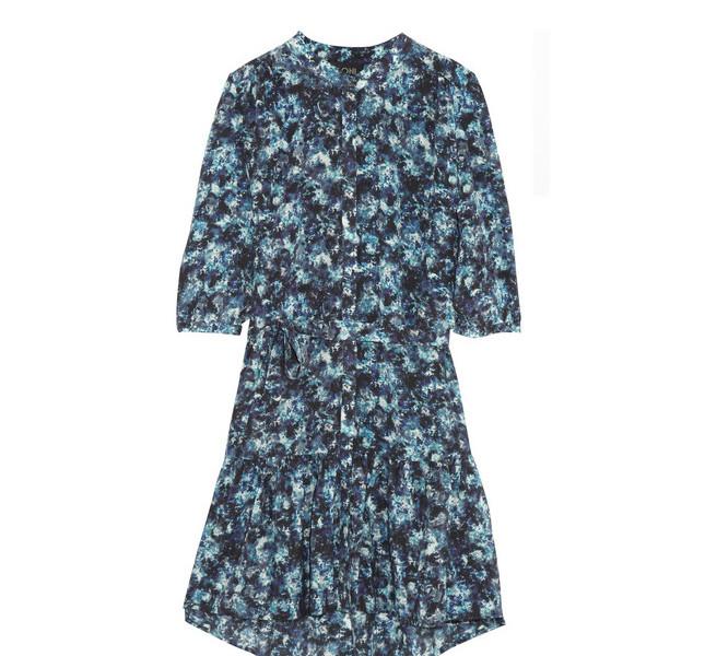 Saloni, vestito a fiori corto con maniche lunghe nella tonalità del blu/azzurro