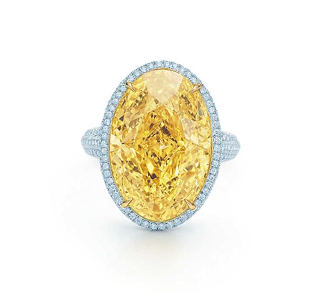 Tiffany anello con diamanti e pietra gialla