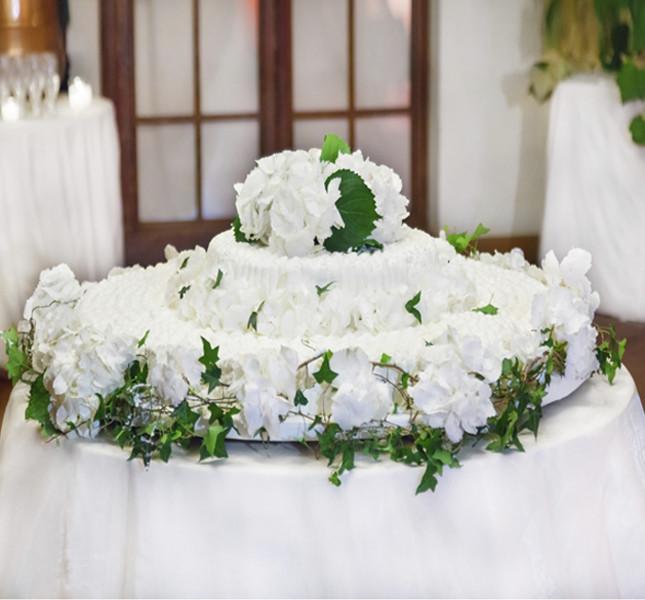 Torta bianca con decorazioni floreali:  un classico intramontabile.
