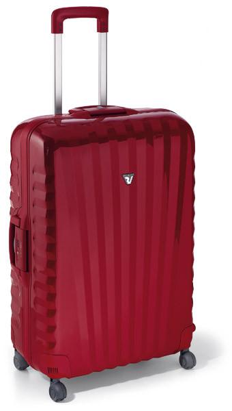 Valigia grande e rigida, Roncato, con 4 ruote. Il marchio la propone nel colore rosso.