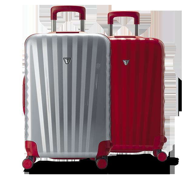 Valigie Roncato grandi, modello Uno SRL. Nei colori: grigio e rosso.