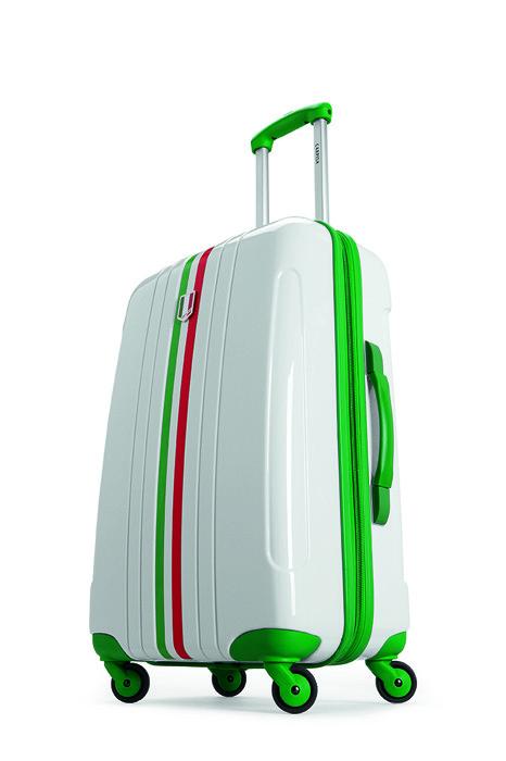 Il trolley rigido della linea ideata per i Mondiali: fondo bianco, dettagli verdi e tricolore
