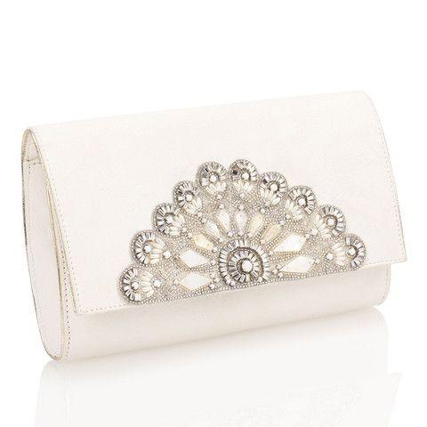 Pochette bianca brillante con decori