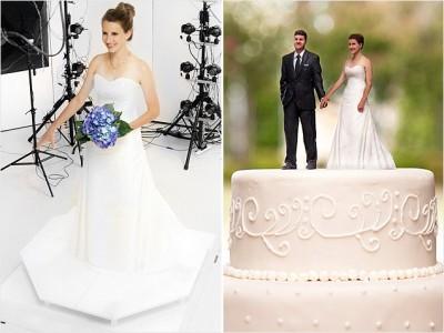 cake topper in formato 3D con scansione della sposa