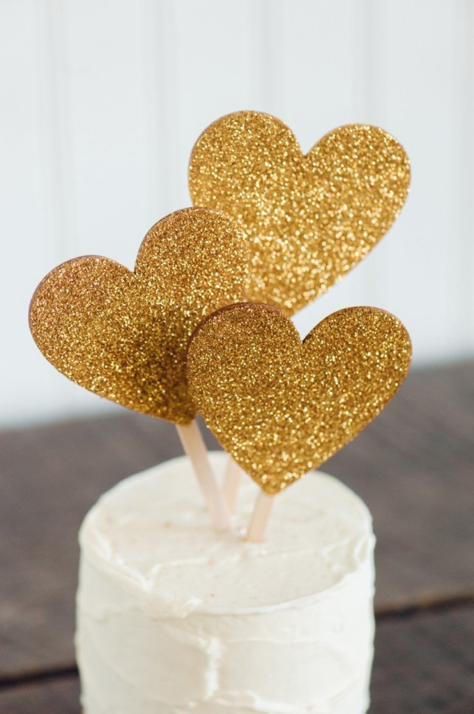 cuoricini glitterati color oro