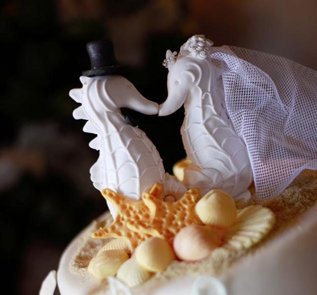 Caketopper a tema di cavallucci sposi per la torta estiva.
