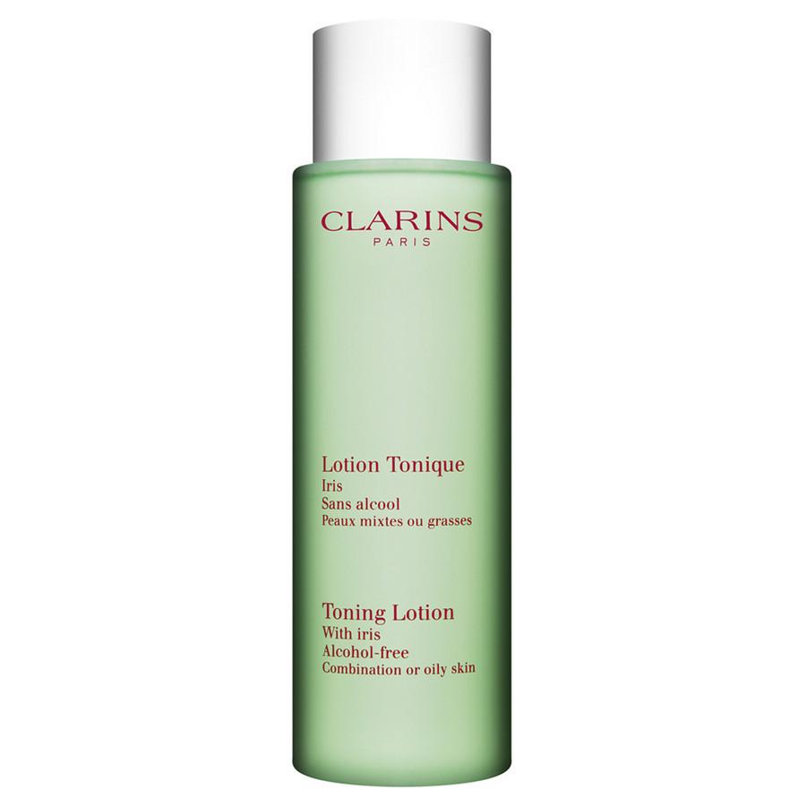 Clarins Tonico Iris Pelle Mista formulato con estratti purificanti di iris e salvia è un tonico privo di alcol che rimuove ogni traccia di detergente dalla pelle del viso.