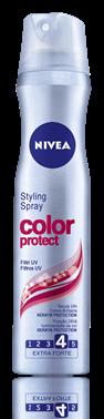 Aiuta a mantenere la piega a lungo e a sostenere le acconciature per le grandi occasioni. Lo spray Color di Nivea è perfetto per chi ha capelli colorati o meches