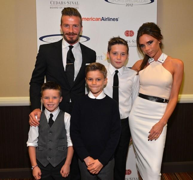 La famiglia Beckham ad un evento benefico in California