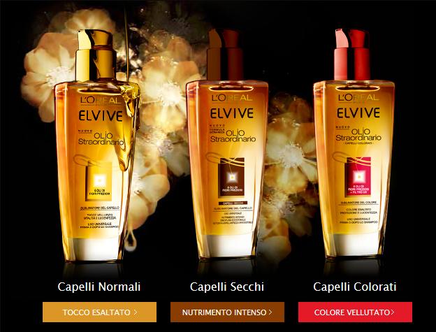 Olio Straordinario di Elvive: le tre versioni per capelli normali, secchi e colorati