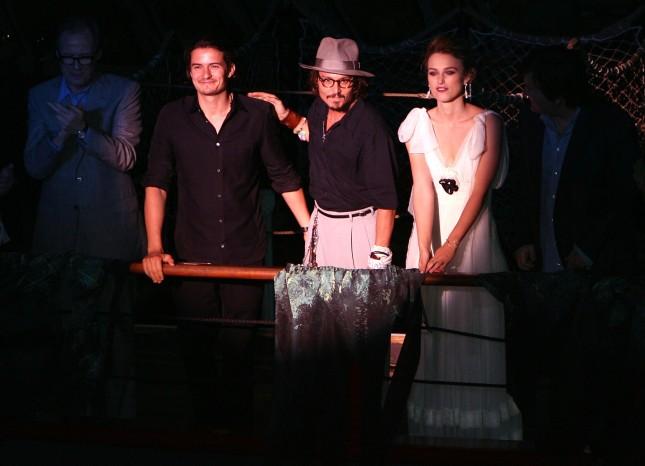 Johnny Depp, Orlando Bloom e Keira Knightley alla prima mondiale di