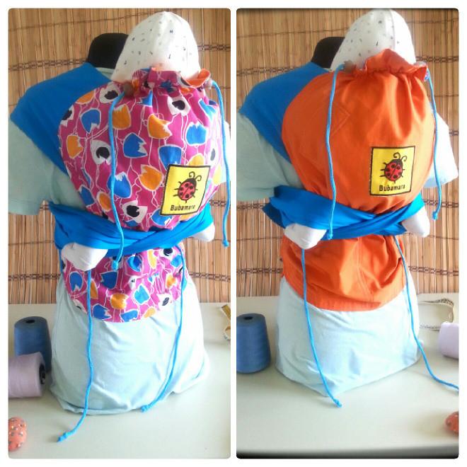 Mei Tai Marsupio Porta Bebè double face con schienale regolabile - realizzazione artigianale di Bottega Bubamara a Euro 77.00. Anche su ordinazione