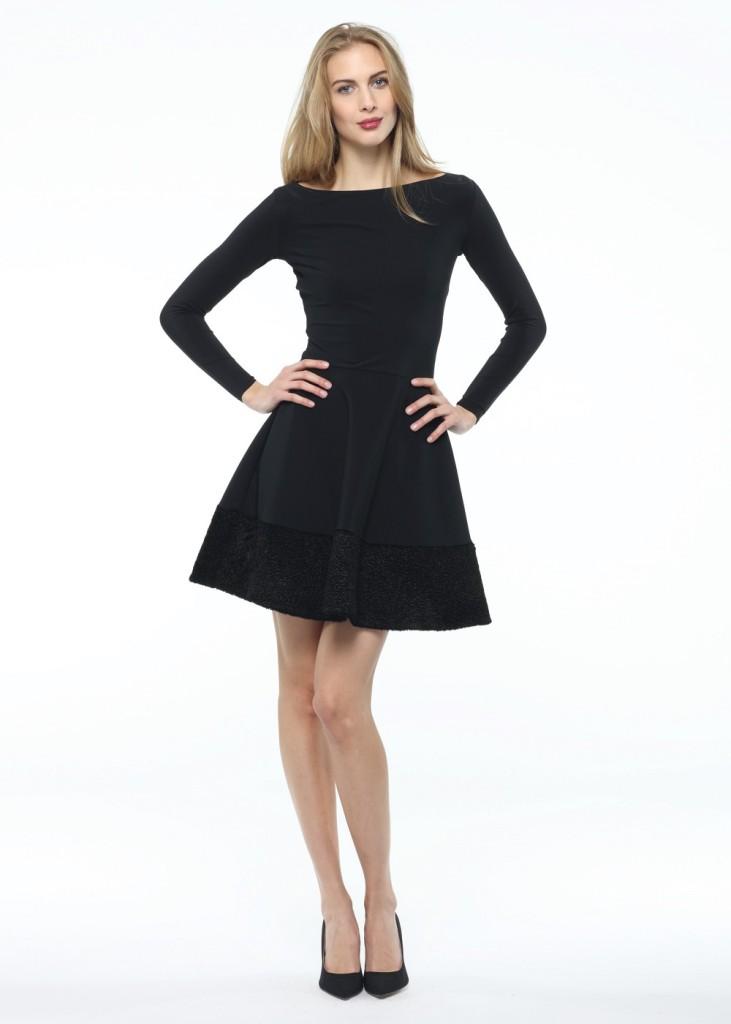 Abito Beppina AK di Chiara Boni collezione A/I 14-15 in tessuto nero in chiaro stile Fifties