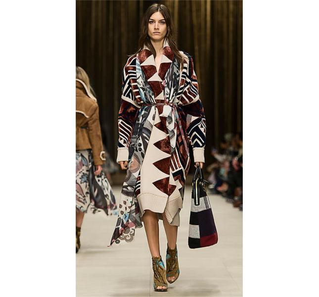Cappotto coperta con lavorazione geometrica / sfilata Burberry fw 2014