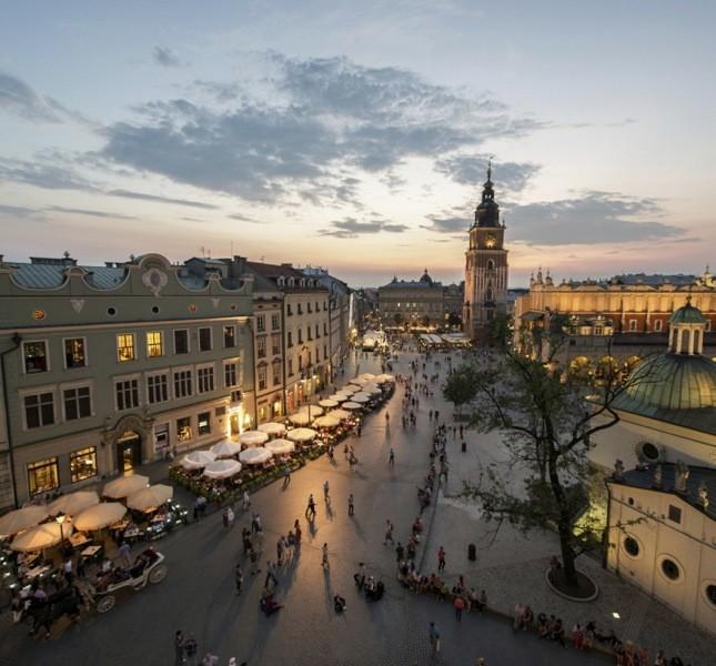 Vista panoramica sulla piazza del mercato, Cracovia