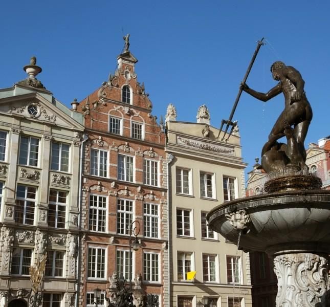 La fontana del Nettuno è uno dei simboli della città di Danzica