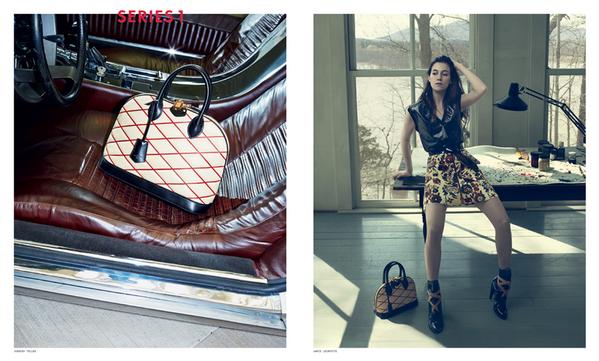 Borsa a mano Louis Vuitton e abito in pelle con gonna stampata