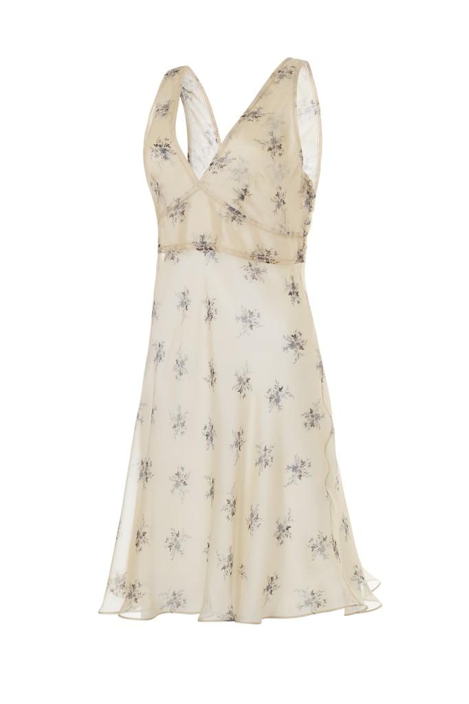 Camicia da notte Agena Chiffon Flor beige: scollatura generosa e vita alta tipica dello stile impero