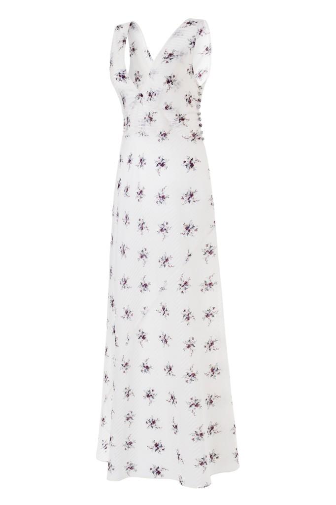 Camicia da notte Maia Pekin in colore bianco: i dettagli delle stampe non lasciano indifferenti