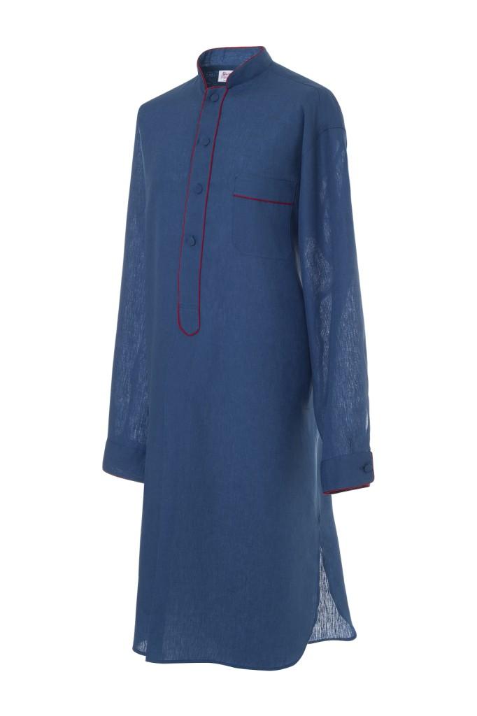 Camicia da notte maschile Albireo blu indaco in lino