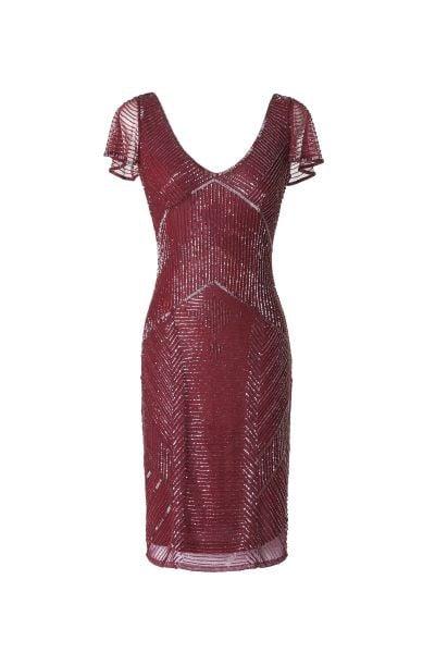 L'abito corto Aitana di Pronovias rosso ciliegia gioca con geometrie e materiali