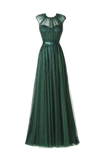 L'abito lungo Albano by Pronovias in un audace verde petrolio, con inserti in tulle prezioso