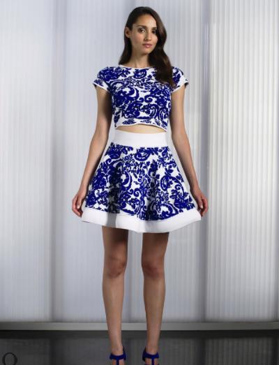 Crop top e gonna blu e bianco by Lorella Signorino collezione SS 14