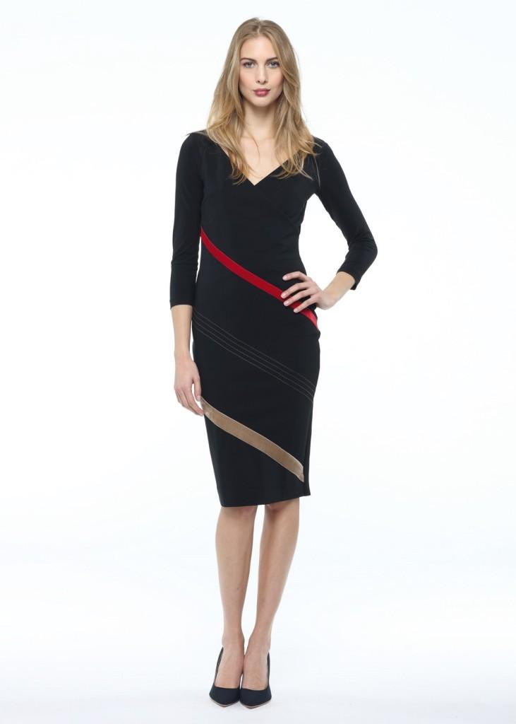 Abito Vincenza VS Velvet Stripe di Chiara Boni collezione A/I 14-15 eleganza essenziale