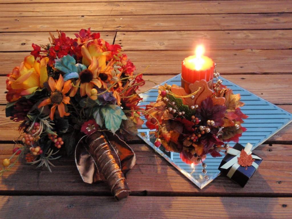 matrimonio in autunno allestimento con foglie e candele