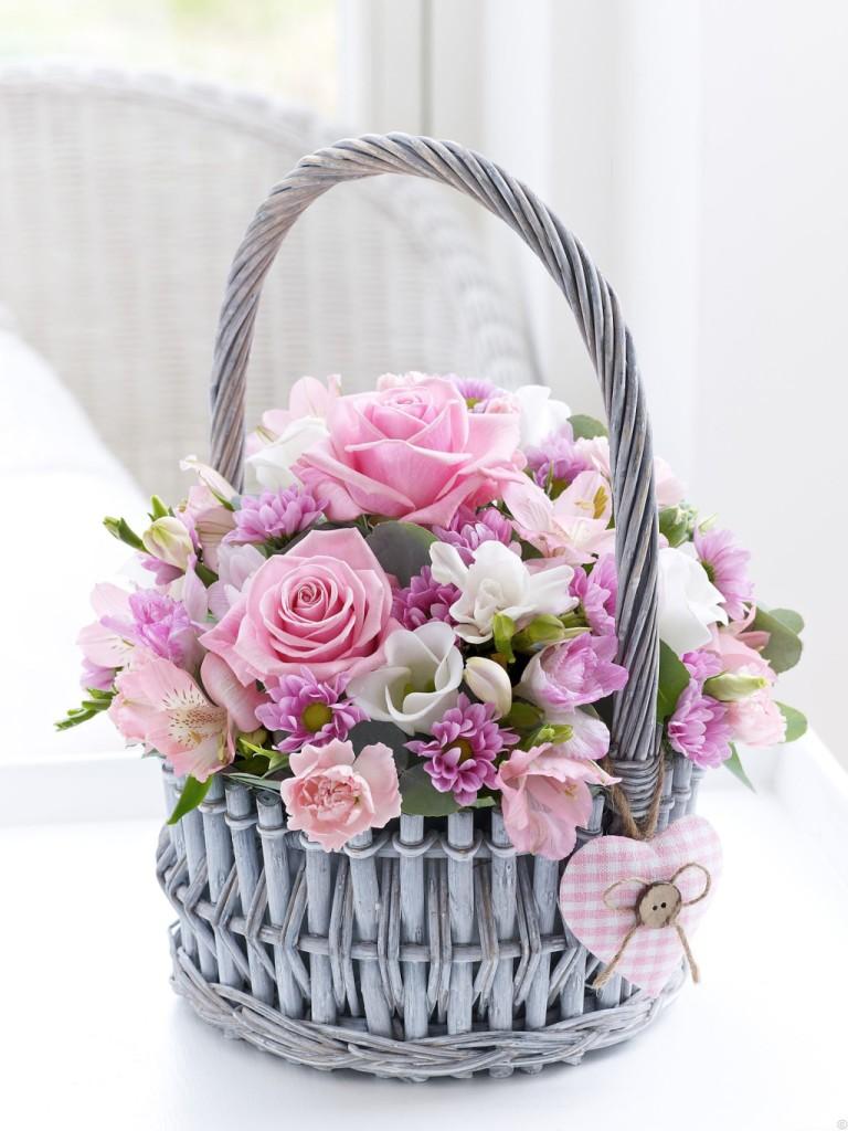 cesta fiori molto glamour