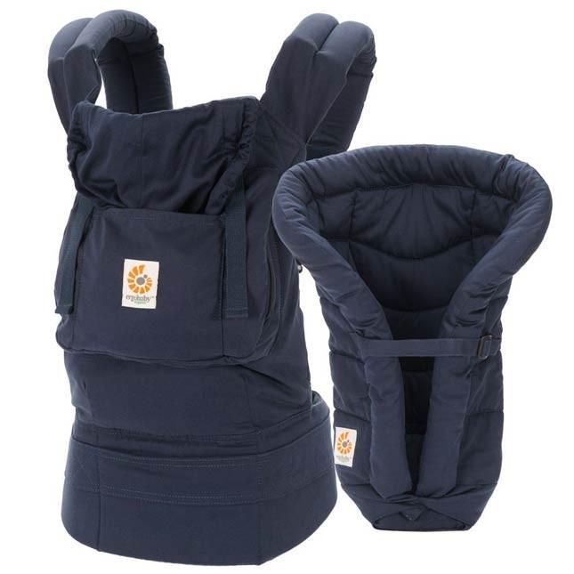 Marsupio Ergobaby Organic Pack - Navy Midnight con cuscinetto per neonati che permette di utilizzarlo fin dalla nascita. A 149 Euro su tabata.shop