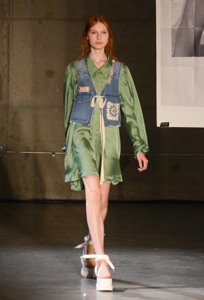 Mini vestito a camicia e gilet in denim con patchwork bandana / MM6 Maison Martin Margiela ss 2015