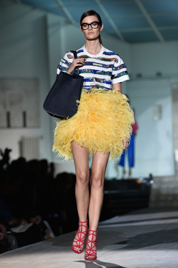 T-shirt a righe e gonna a ruches / Dsquared2 ss 2015