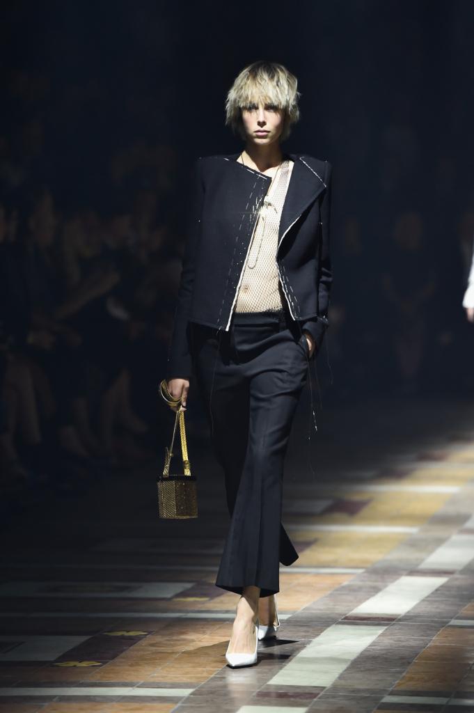 Completo giacca e pantaloni con borsa bauletto golden / Lanvin ss 2015