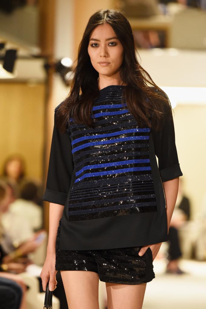Top manica lunga con fronte a bande orizzontali nere e blu per Sonia Rykiel
