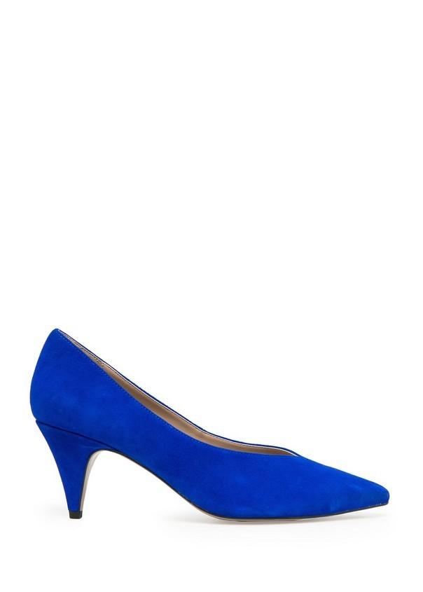 Scarpe blu con tacco mini, di Mango; must have per l'autunno-inverno 2014-15