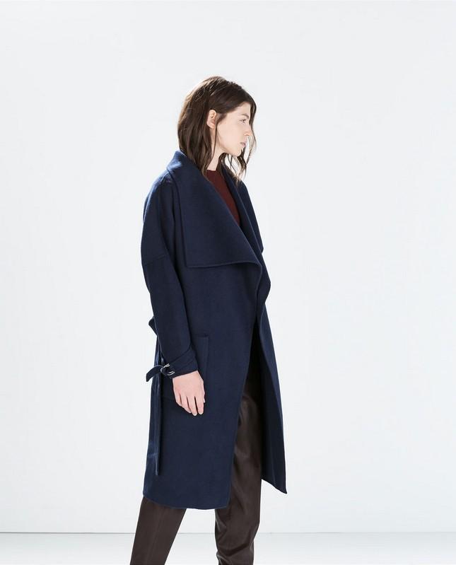 Cappotto lungo blu, oversize, di Zara; must have per l'autunno-inverno 2014-15