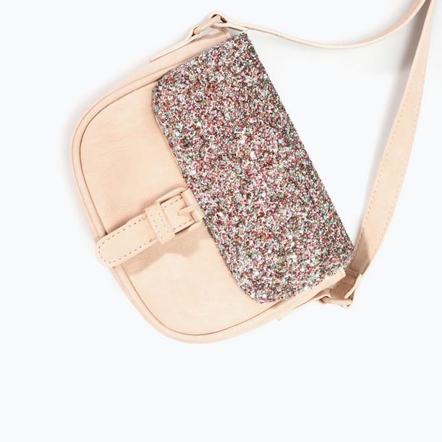 Borsa a tracolla beige, con glitter, di Zara; must have per l'autunno-inverno 2014-15