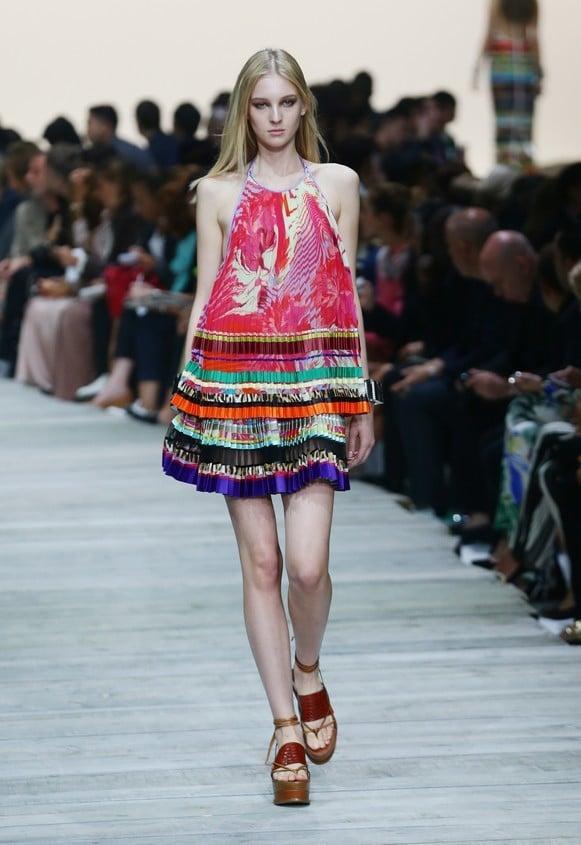Mini dress stampato multicolor con gonna plissettata
