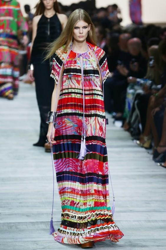 Long dress con plissé multicolor