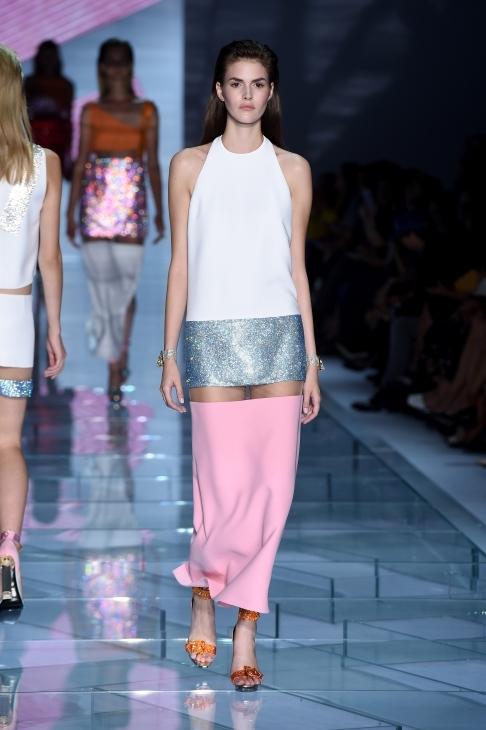 Long dress color block con intarsi trasparenti
