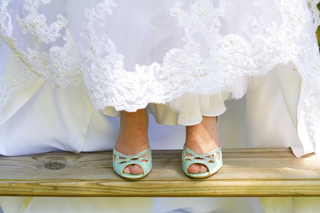 Scarpe da sposa celesti, verde acqua