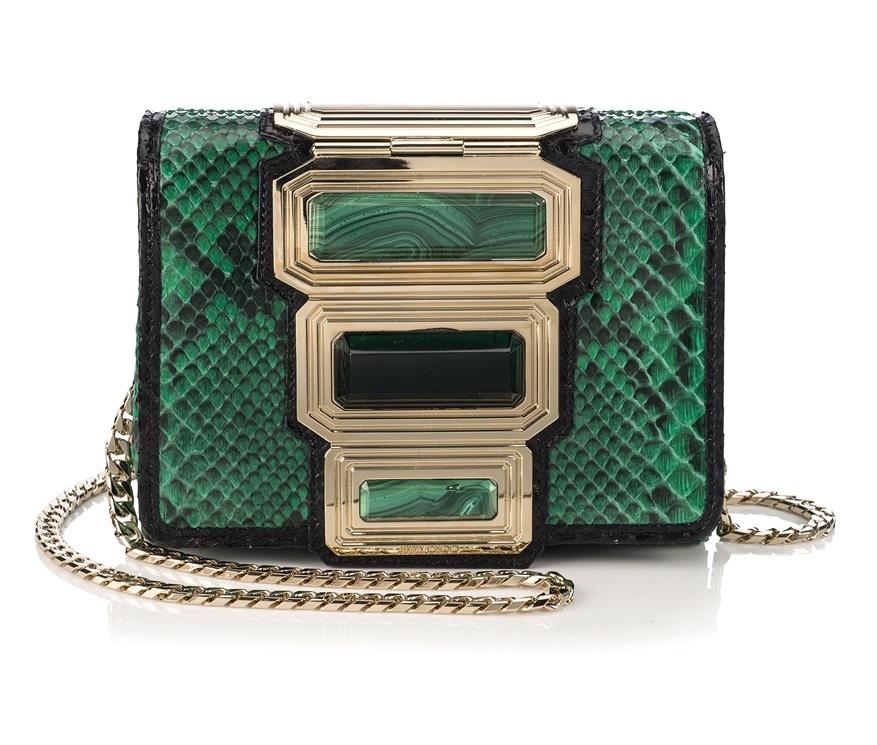 Pitone verde e dettagli color oro: una delle stupende borse della collezione Vices di Jimmy Choo