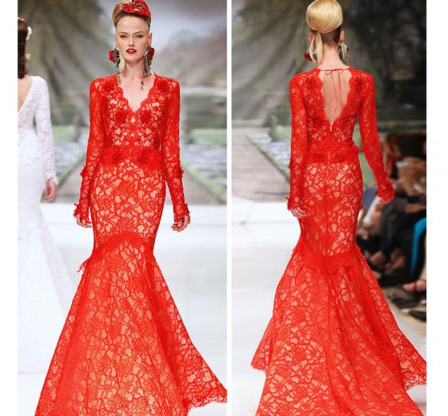 Taglio a sirena e color rosso fuoco per l'abito Atelier Aimèe. Super sexy!