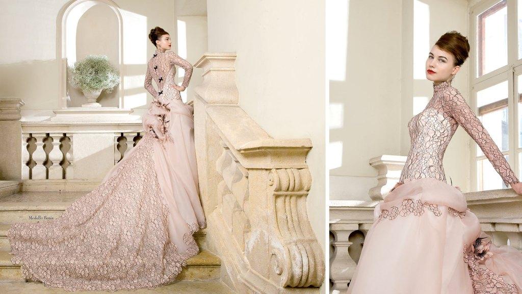 Modello Ilenia con organza rosa cipria e pizzo nero per una sposa molto originale