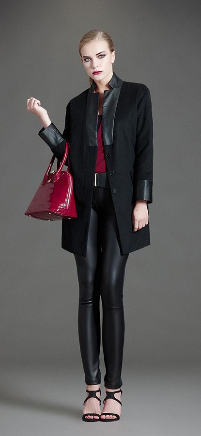 Cappotto combinato di Artigli, con particolari in pelle