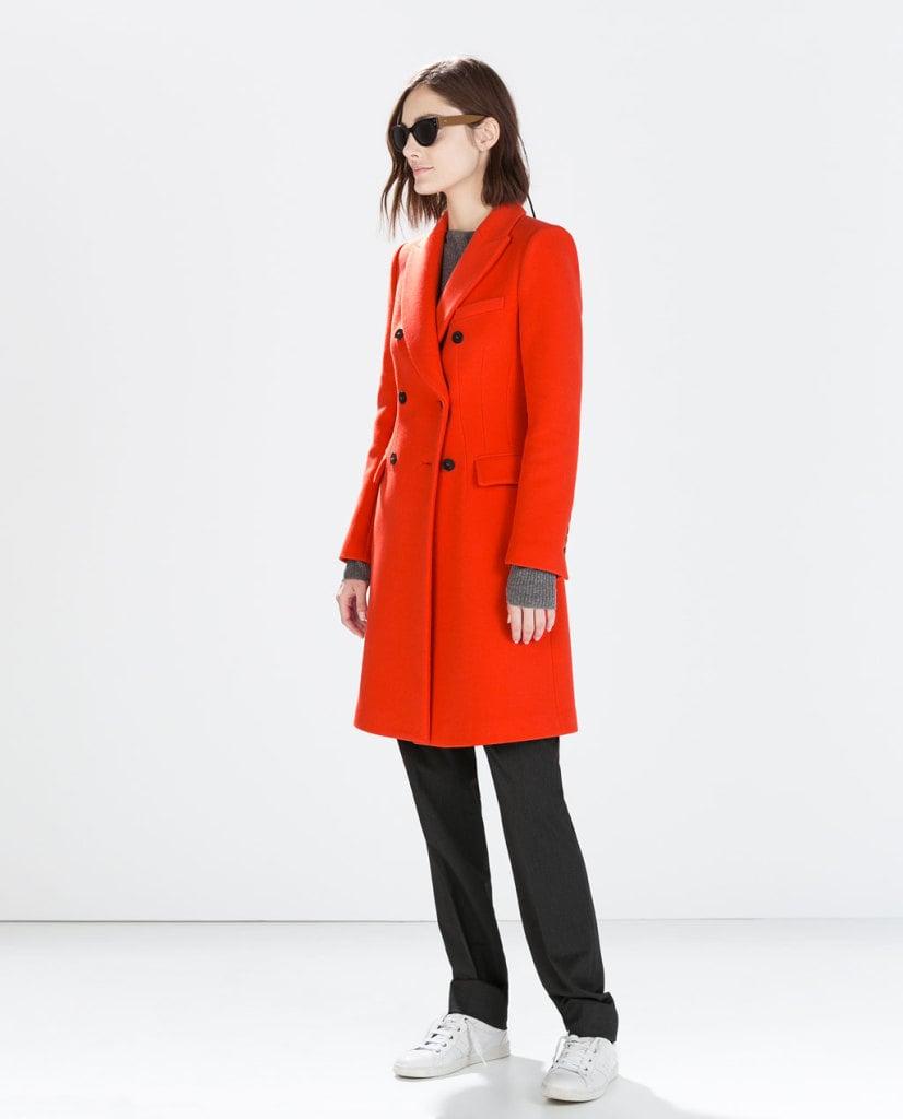 Zara cappotto doppio petto arancio