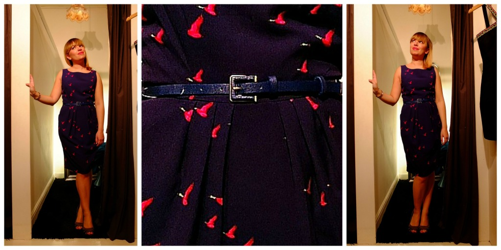 Lilac Rose: quest'abito tubino di colore blu-viola ci ha stregato, soprattutto per un particolare: le oche fucsia su tutta la stampa!