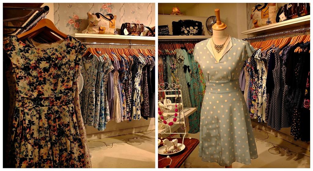 Lilac Rose: ecco un esempio di abito in perfetto stile Lilac Rose: a pois azzurro carta da zuccheto, il taglio con gonna svasata e lo scollo con colletto è decisamente  Fifties