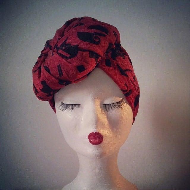 Ancora un turbante modello Greta: pezzo unico ricavato destrutturando abiti vintage
